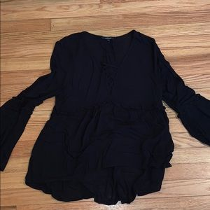 Black bell sleeves crisscross deep v long sleeve